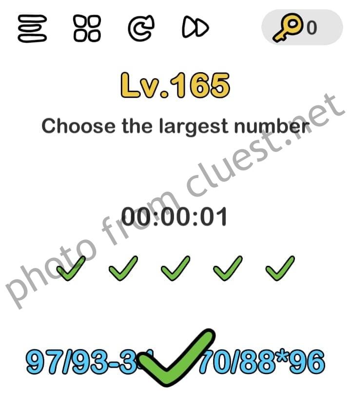 Brain Out Level 165 Choose The Largest Number Answers And Solutions Cluest