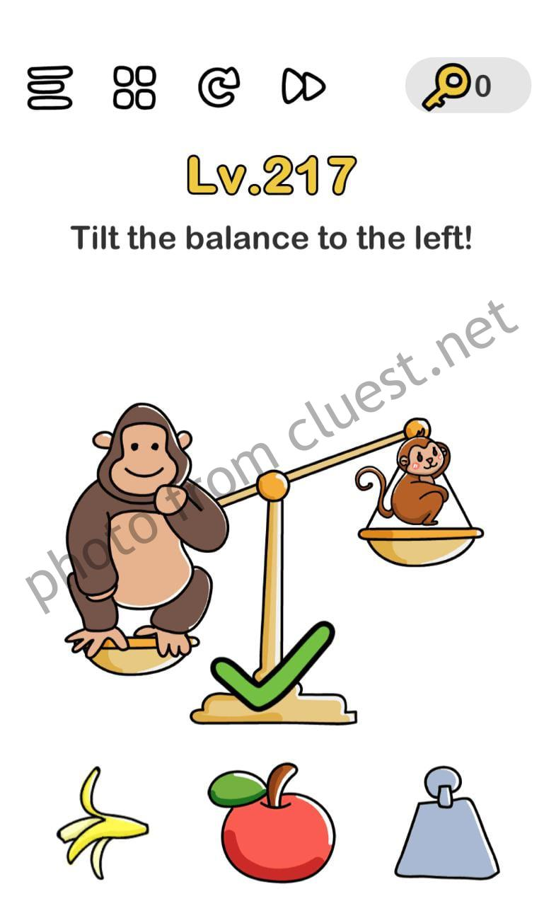 Brain Out Level 217 Tilt The Balance To The Left Answers And Solutions Cluest
