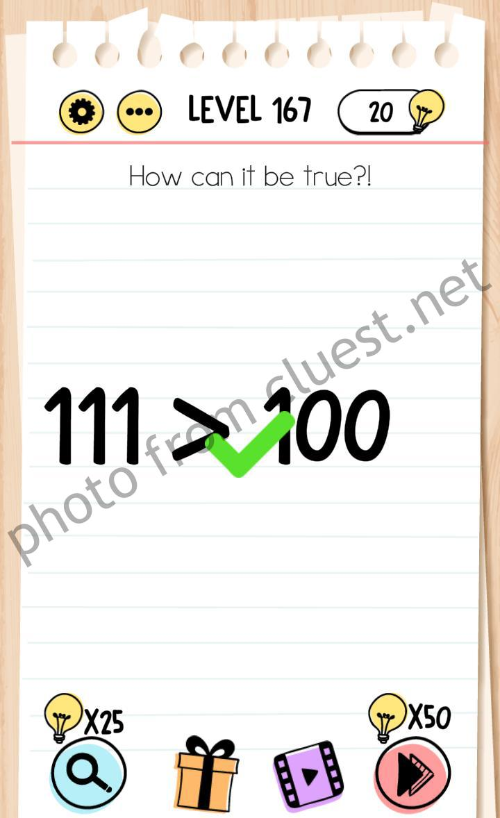 Brain Test Level 167 How Can It Be True Answers Cluest
