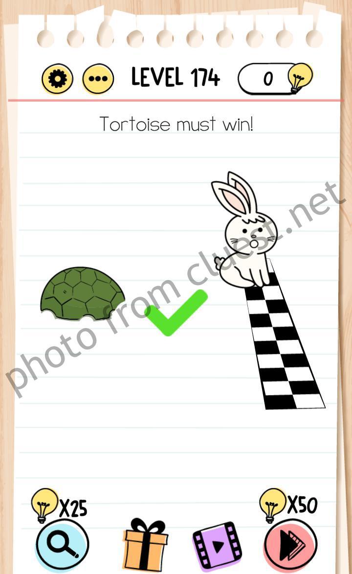 Brain Test Level 174 Tortoise must win Answers - CLUEST