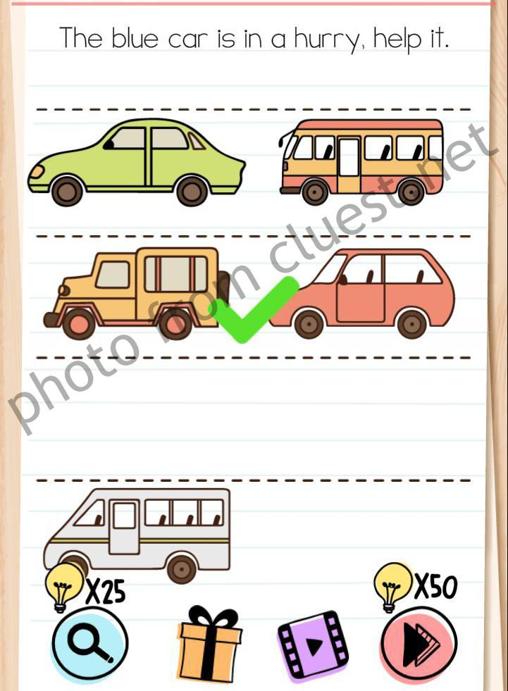 Brain Test Level 175 The Blue Car Is In A Hurry Help It Answers Cluest