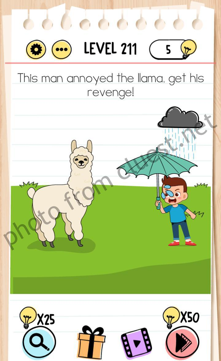 Brain Test Level 211 This Man Annoyed The Llama Get His Revenge Answers Cluest