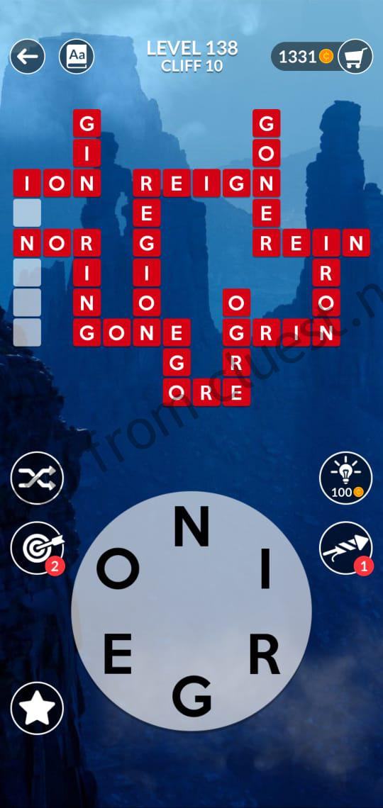 Wordscapes Level 138 Cliff 10 Answers Cluest