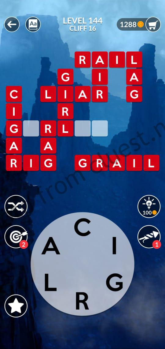 Wordscapes Level 144 Cliff 16 Answers Cluest