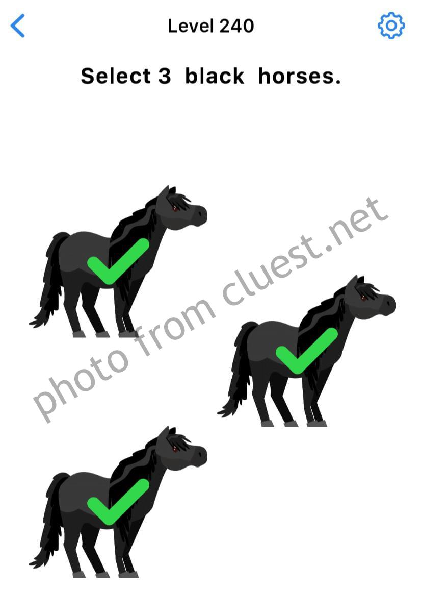 Easy Game Level 240 Select 3 Black Horses Answers And Solutions Cluest