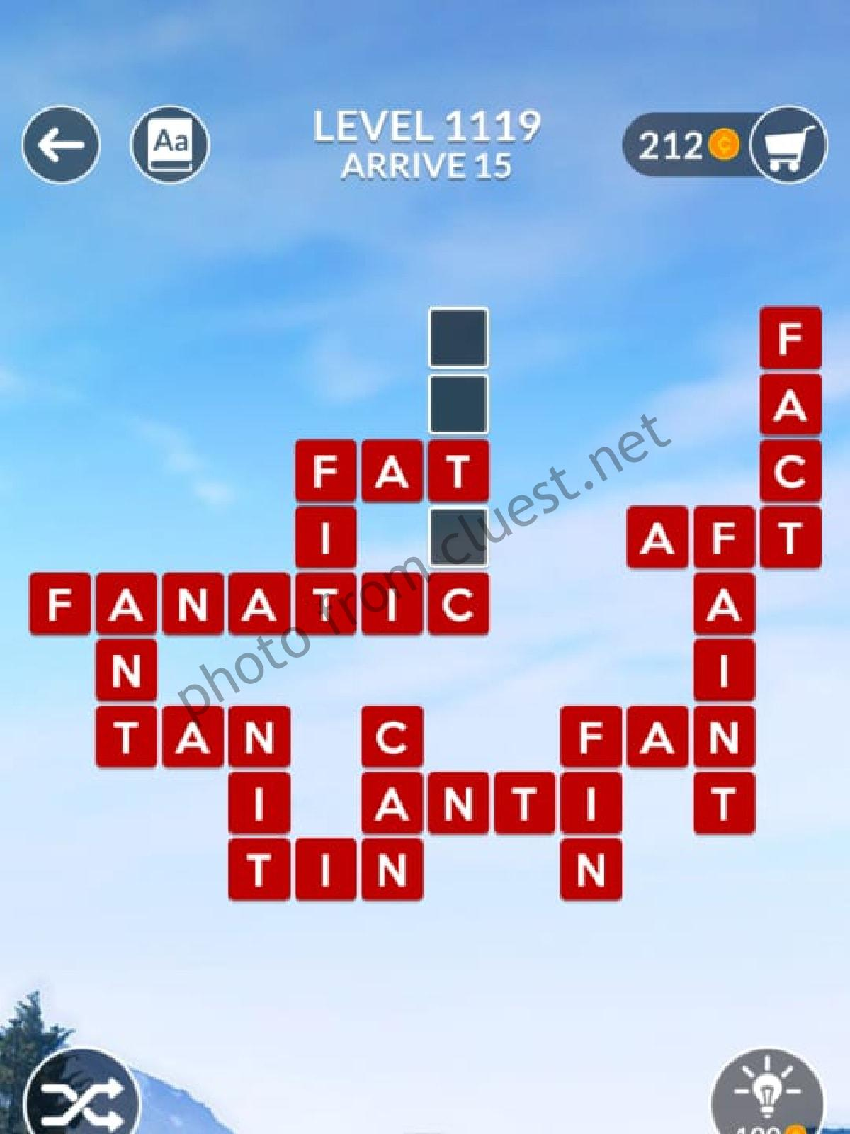 Wordscapes Level 1119 Arrive 15 Answers Cluest