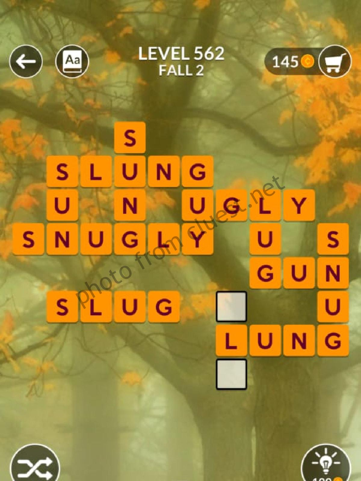 Wordscapes Level 562 Fall 2 Answers Cluest