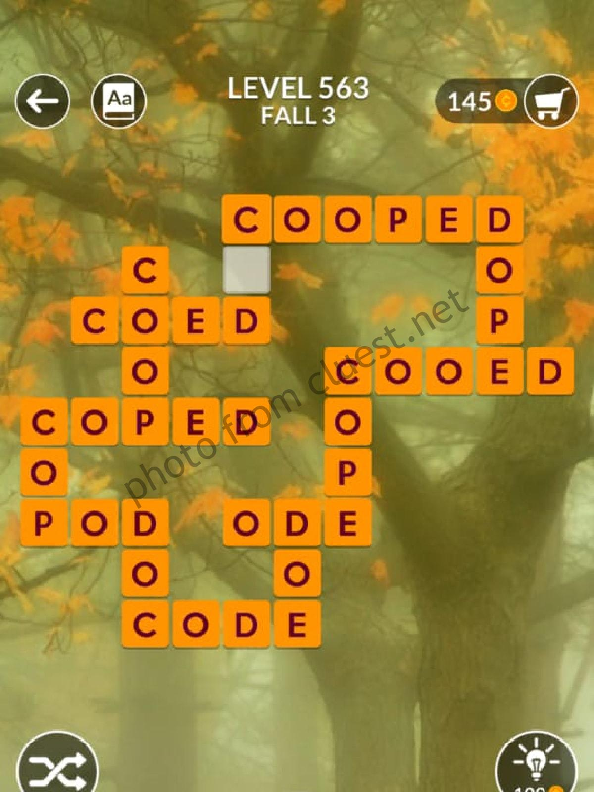 Wordscapes Level 563 Fall 3 Answers Cluest