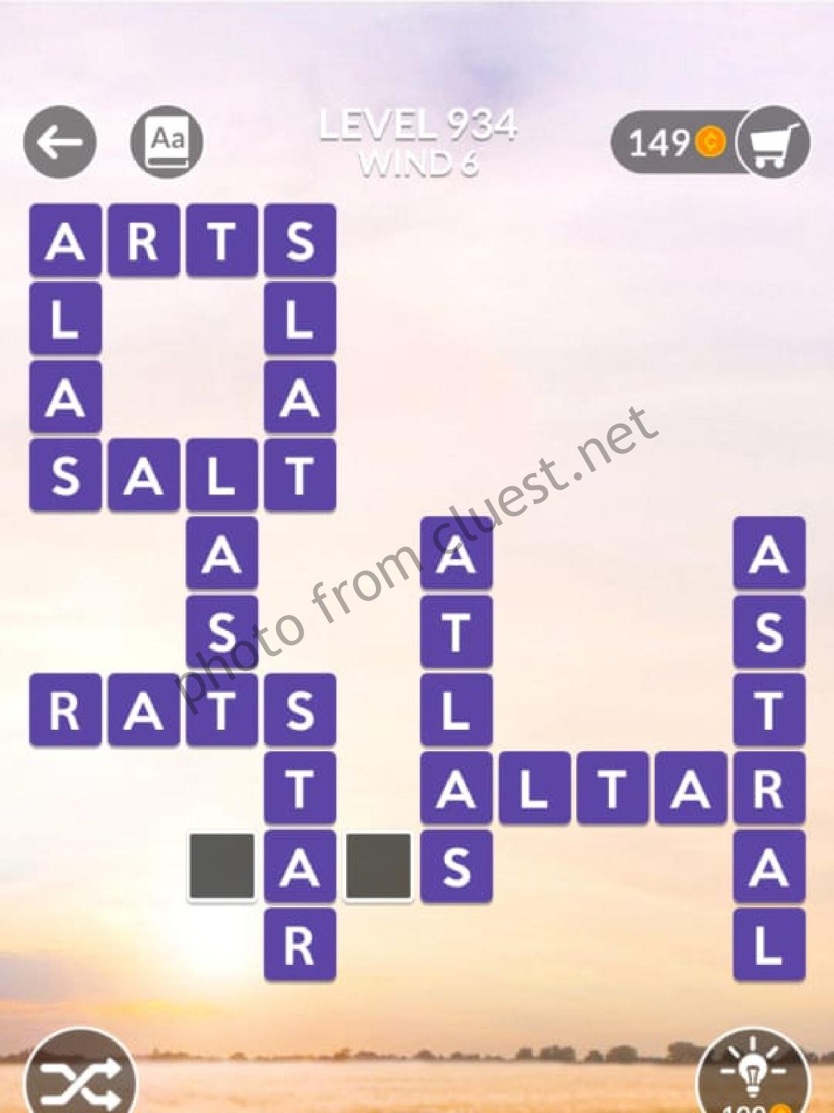 Wordscapes Level 934 Wind 6 Answers Cluest