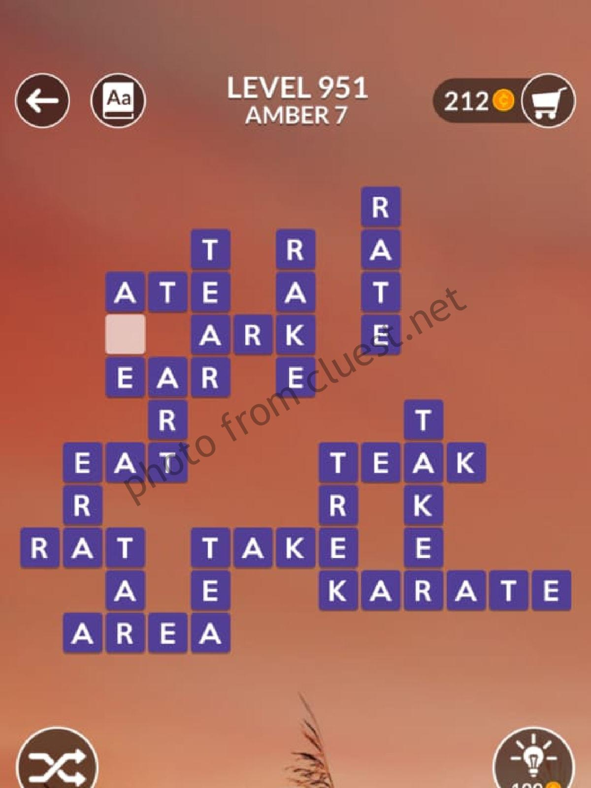 Wordscapes Level 951 Amber 7 Answers Cluest