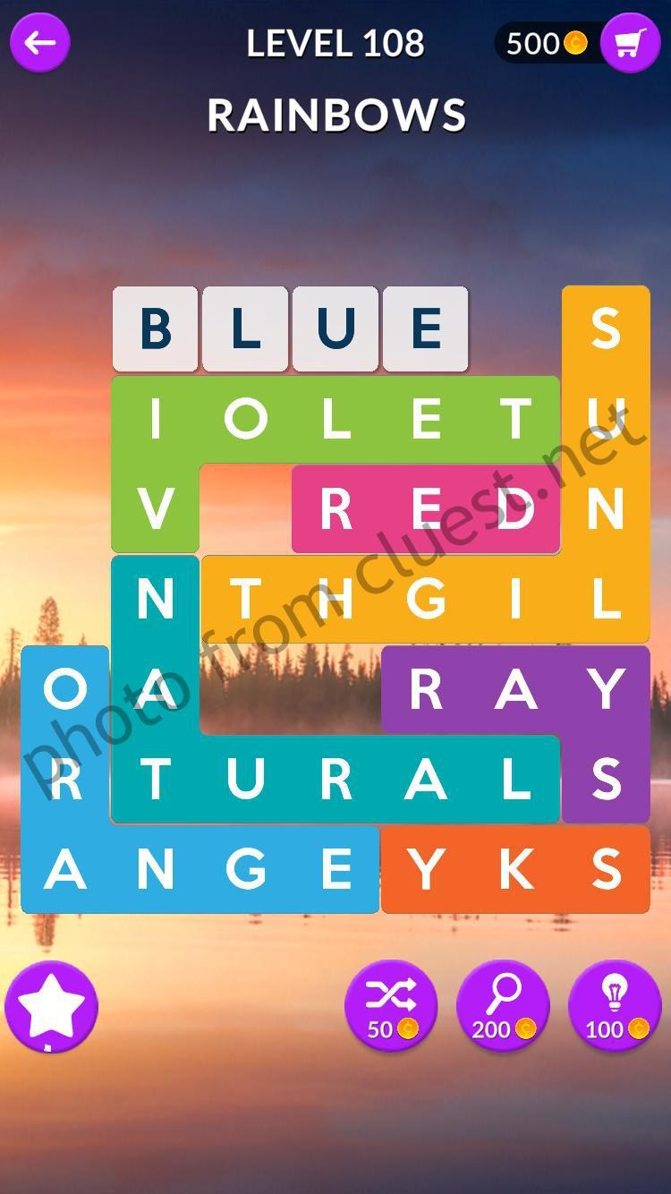 Word Shapes Level 108 Rainbows Answers - CLUEST
